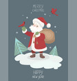 greeting card with santa claus graphics vector image