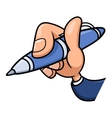 Hand holding blue pen 2 vector image vector image