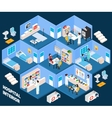 Hospital isometric interior vector image vector image
