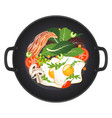 hot frying pan with fried eggs bacon mushrooms vector image vector image