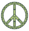 international peace symbol with flowers vector image