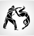 judo fighters round pictograph or logo martial vector image