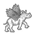 little rhino with wings apparel print design vector image vector image