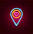 love map pin neon sign vector image vector image