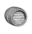 old wooden barrel lying on its side beer wine vector image vector image