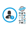 Online Support Flat Icon with Bonus vector image vector image
