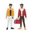 pair of caucasian men wearing casual clothing and vector image