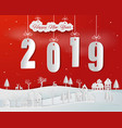 paper art of happy new year 2019 on red background vector image vector image