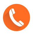 phone icon in flat style on round orange vector image vector image