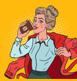 pop art busy girl with morning coffee vector image vector image