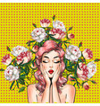 pop art pin-up girl with peony flowers vector image vector image