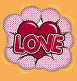 red heart over halftone background vector image vector image