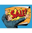 Retro man unfolds a poster sale vector image vector image