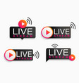 set live stream logosymbolicon with play button vector image