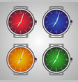 set of realistic wrist watches multicolored clock vector image vector image