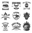 set of steak house emblems grilled meat barbecue vector image vector image