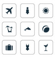 set simple beach icons vector image