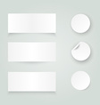 set white paper stickers on white background vector image