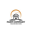 simple barn logo designs with sun background vector image vector image