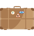 suitcase with stickers from the trip vector image