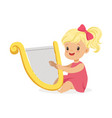 sweet little blonde girl playing harp young vector image vector image