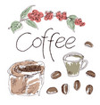 the coffee set is drawn by hand vector image vector image