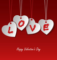 Valentines card with hearts and the word love vector image vector image