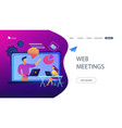 web meetings landing page vector image vector image