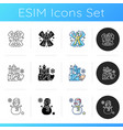 winter activity icons set vector image vector image