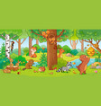 with cute forest animals vector image vector image
