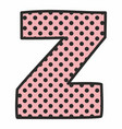 z alphabet letter with black polka dots on pink vector image