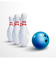 Bowling realistic background Bowling game leisure vector image