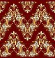 vintage floral seamless pattern red background vector image