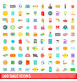 100 sale icons set cartoon style vector image vector image