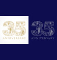 35 anniversary vintage silver gold vector image vector image