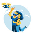 a man and a woman do selfie with a quadroopter vector image