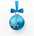 blue christmas ball with blue bow xmas glass ball vector image