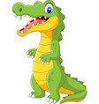 cartoon cute crocodile standing on white vector image vector image