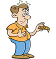 Cartoon Man Overeating vector image vector image