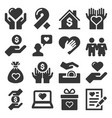 charity and donation icons set on white background vector image vector image