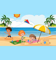 children playing on beach vector image
