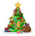 christmas tree decorated with toys cones vector image