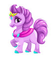 cute cartoon little horse princess vector image
