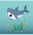 cute cartoon shark swimming vector image vector image