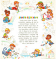 cute children paint picture together vector image