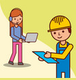 delivery man checking and operator woman holding vector image vector image