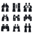 discovery binoculars icons set simple style vector image