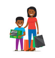 family on shopping mother and son vector image