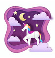 fantasy animal horse unicorn with clouds cut out vector image