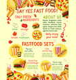 fast food restaurant snacks menu template vector image vector image